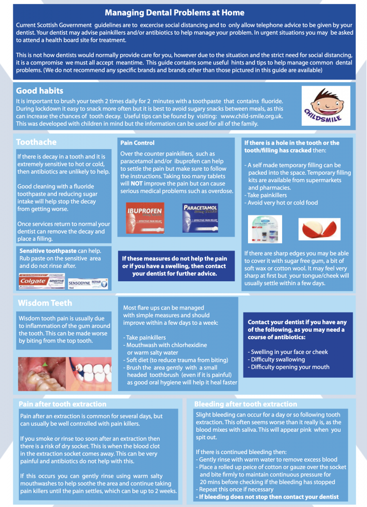 Speyside Dental Advice Sheet